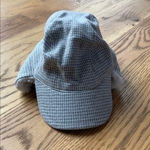 Janie & Jack Grey & white houndstooth trapper hat